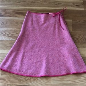 Boden Pink Wool Silk Tweed A Line Tie Skirt 10
